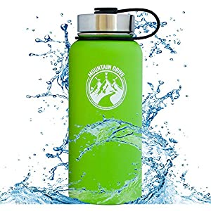 32oz Stainless Steel Water Bottle Vacuum Insulated Double Wall Water Flask Insulated Sports Water Bottle Insulated Thermos Leak Proof Water Bottle Insulated Wide Mouth Flask Lid With Straw 2 Lids