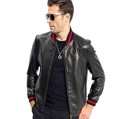 fb29345a4ee2 LINAILIN Men s Baseball Leather Jacket Men Genuine Leather Coat at ...