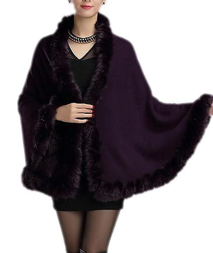 Otoño Y El Invierno De La Mujer Abrigo Grueso Cálido Y Cálido Moda Punto De Rebeca Cuello De Piel