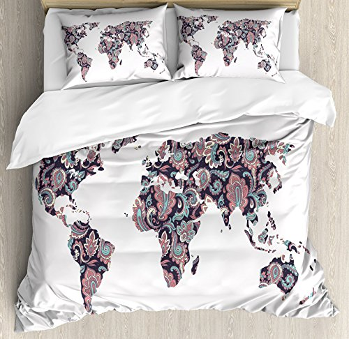 Ambesonne Floral World Map Duvet Cover Set Queen Size, Paisley Leaves in Ornamental Eastern Style Old Fashioned Theme Design, Decorative 3 Piece Bedding Set with 2 Pillow Shams, Turquoise Coral