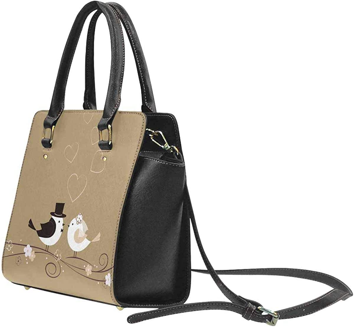 InterestPrint Wedding with Birds Handbags for Women Ladies Purses Top Handle PU Leather Shoulder Bags