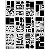 NABLUE 12 Pcs Bullet Journal Stencil Set Planner Stencil for Journaling, Scrapbooking, DIY Cards Making and Art Projects (12 Different Styles Stencils)