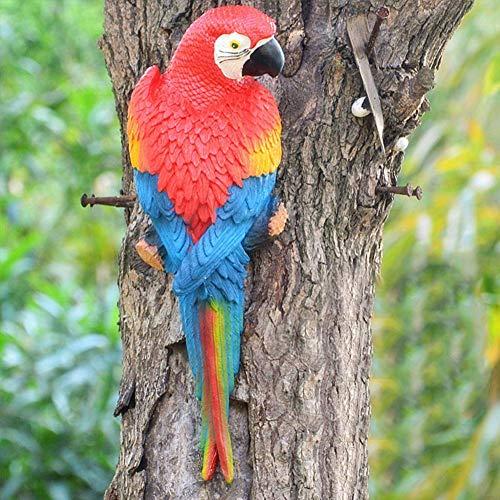 ANNIUP Toy Simulation Parrot Figurine Toy Resin Ornament Half Side Lifelike Sculpture Garden Desktop Patio Decor Red…