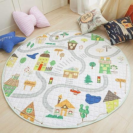Bonabon - Alfombra redonda para habitación infantil, organizador de juguetes, de algodón, antideslizante, para habitación infantil, 59 x 59 pulgadas: Amazon.es: Hogar