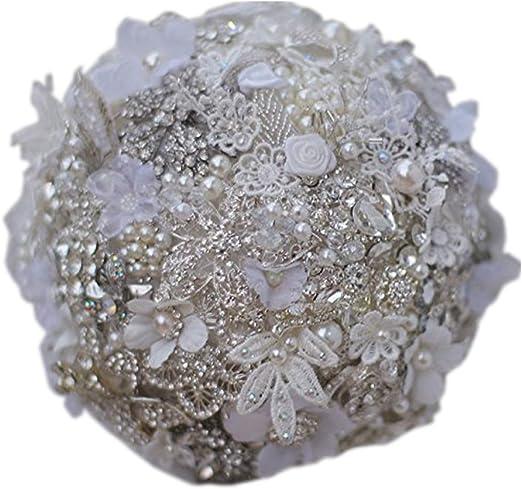 Amazon Com Bridal Bouquet 7 Inch Custom White Wedding Bouquet