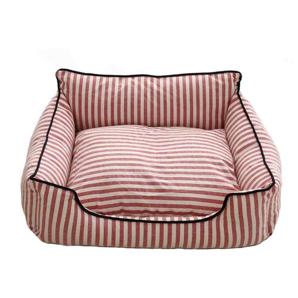 Yangshu Pet Kennel,Removable and Washable Striped Nest Four Seasons Cat Litter Small and Medium Dog Pet (Color : Red)