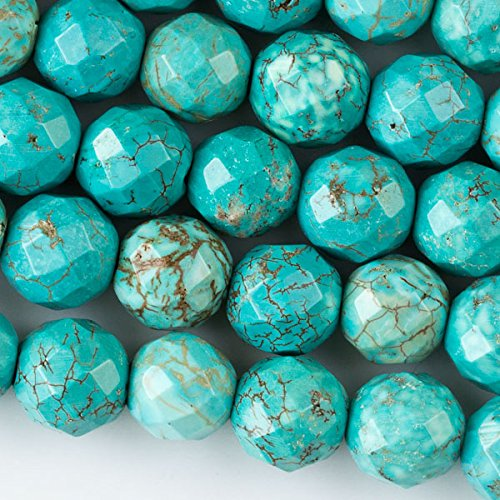 (Cherry Blossom Beads Large Hole 2.5mm Drilled Turquoise Howlite Beads 12mm Faceted Round - 8 Inch Strand)