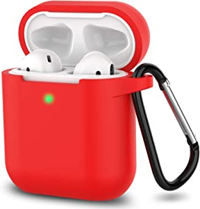 AirPods Case, Full Protective Silicone AirPods Accessories Cover Compatible with Apple AirPods 1&2 Wireless and Wired Charging Case(Front LED Visible),Red