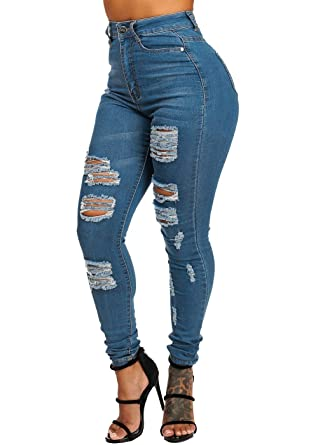 b3ee6b81fc9 ModaXpressOnline Light Wash High Waisted Distressed 1 Button Skinny Jeans  10179P