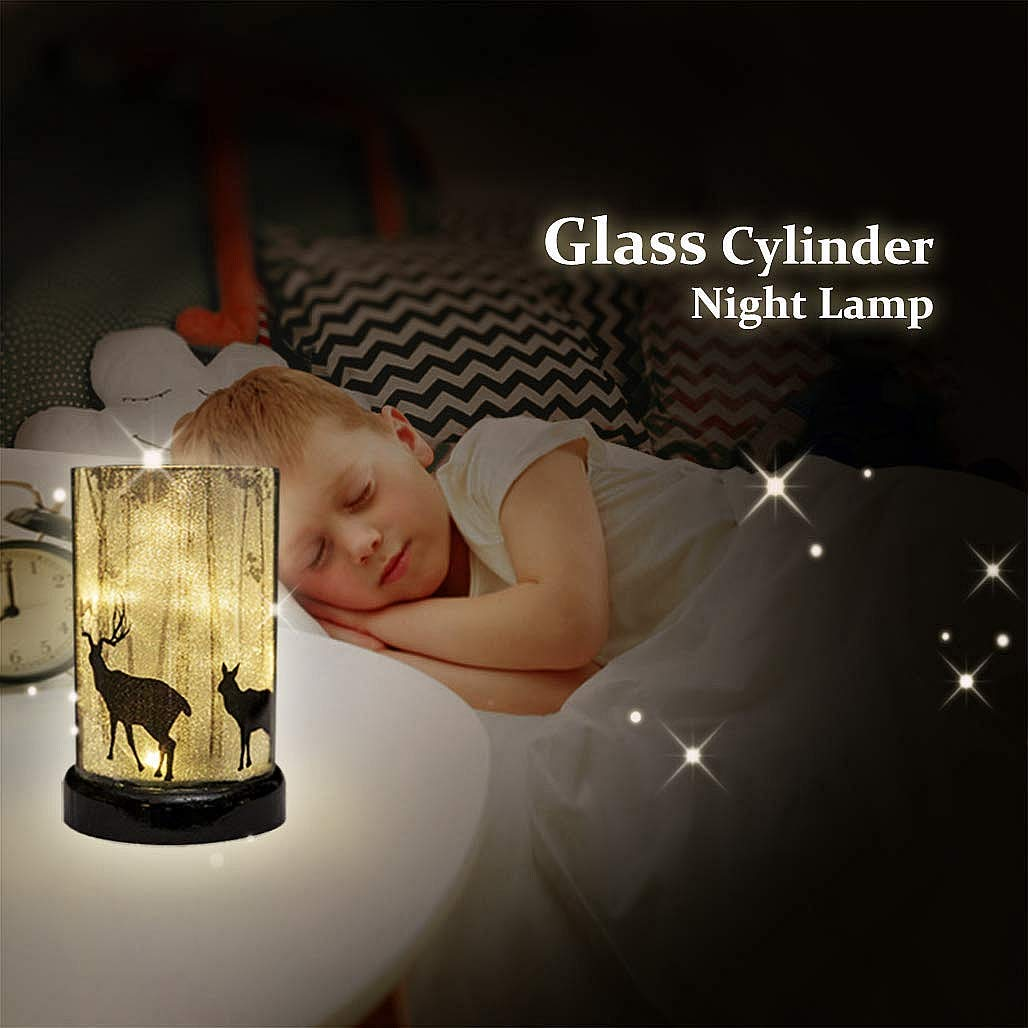 Christmas Light Battery Powered Glass Cylinder Lamp Bedside Table Lamp Coffee Table Decor Mood Light Night Lamp for Bedroom Living Room Kitchen Nursery Children's Room