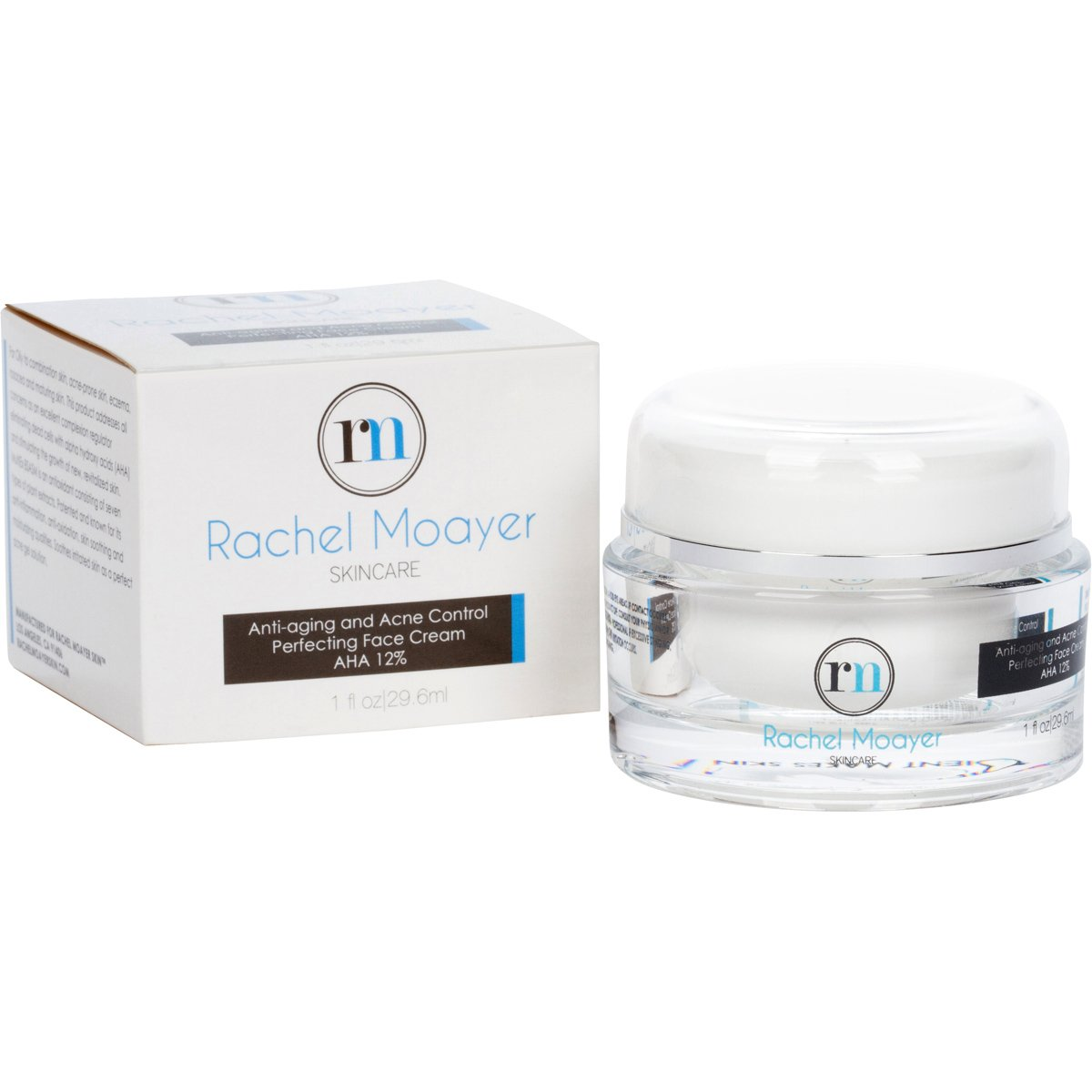 RM Anti-aging and Acne Control Perfecting Face Cream AHA 12%. Contains peptides that help produce collagen for anti-aging and hydrating qualities by Rachel Moayer Skin
