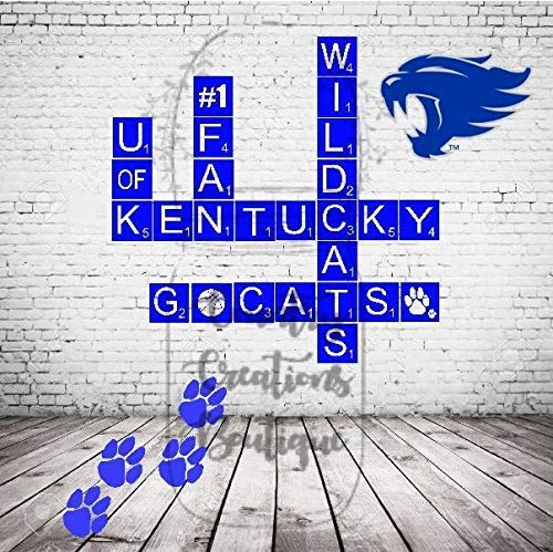 (Kentucky Wildcats Inspired Scrabble Tiles, 26 UK Wooden Ready to Hang Tiles, College Wall Decor, Scrabble Pieces, Personalized Sign, Wood Letters)