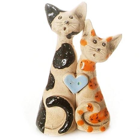 Gatos par | amor Gatos con corazón rojo | buena suerte gato negro & Ginger Cat | gato regalo para ...
