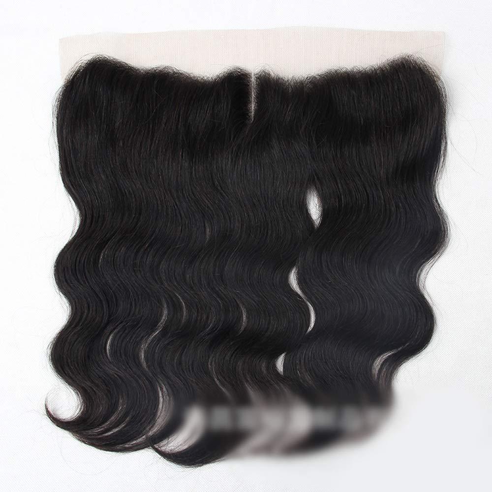 BOBIDYEE ブラジルの実体波人間の髪の毛13×4レース前頭閉鎖中間部ナチュラルブラックカラーショートウィッグ (色 : 黒, サイズ : 18 inch) B07RDHNMPD 黒 18 inch