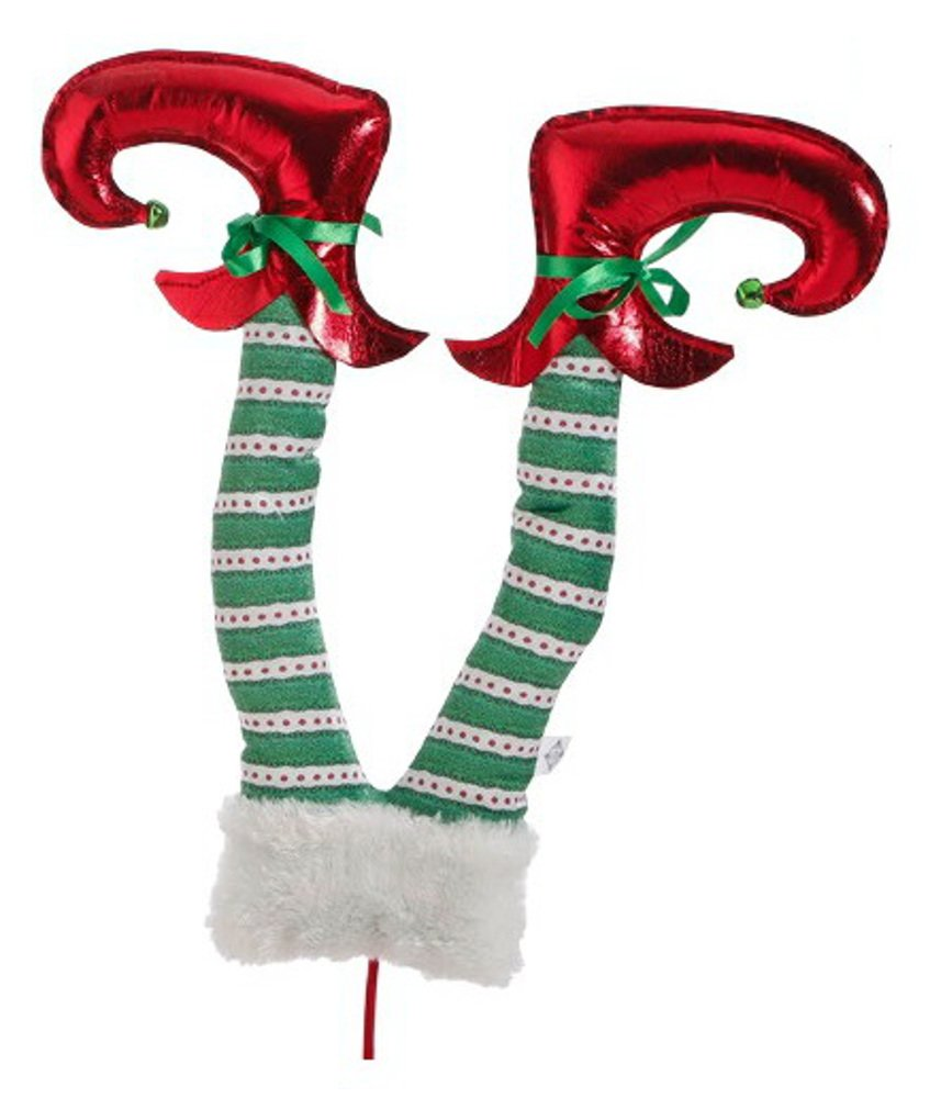 Raz Imports 25.5 Single Unit Elf Leg for Christmas Tree, Wreaths and Decoration (Green Legs)