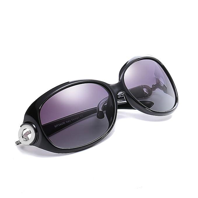 Gafas De Sol Moda Oversized Mujer Polarizadas para 100% Protección UV (negro)