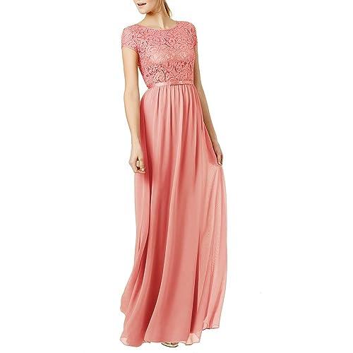 Ssyiz Womens Vintage Round Neck Short Sleeve Bridesmaid Dresses Floral Lace Chiffon Evening Dress Custom