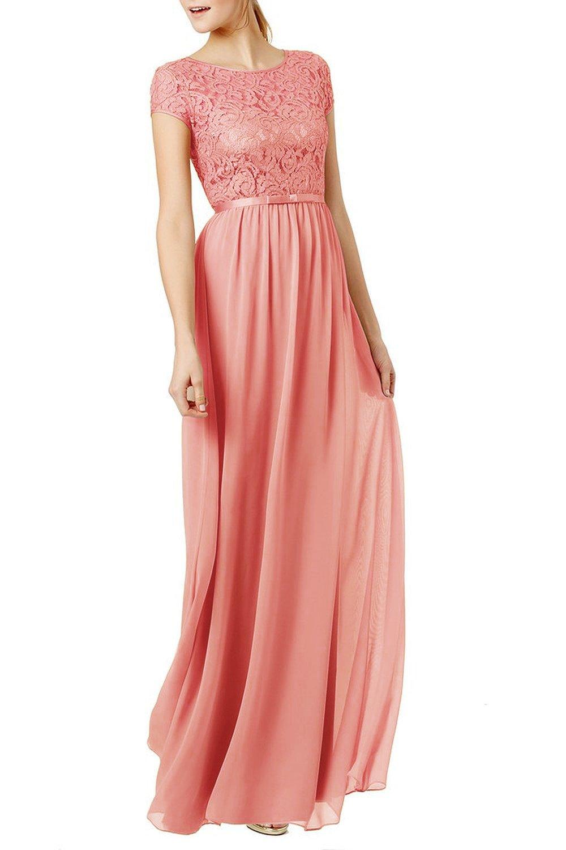 Chiffon Pink Long Dresses: Amazon.co.uk