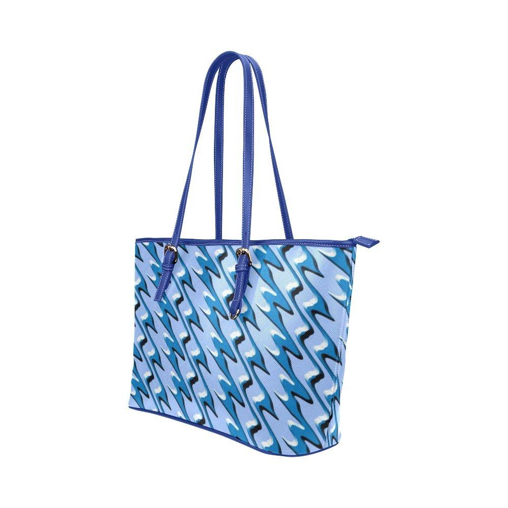 InterestPrint Blue Polar Ice Cap Leather Tote Bag Large