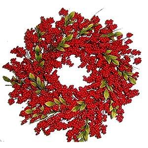 "Flora Decor Bountiful Berry Wreath 24"" - Crimson Red 39"