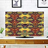 """Leighhome Cover for Wall Mount tv Tribal Tribe Chef Mask with Leaves Details Mustard Orange Red Blue Cover Mount tv W30 x H50 INCH/TV 52"""""""