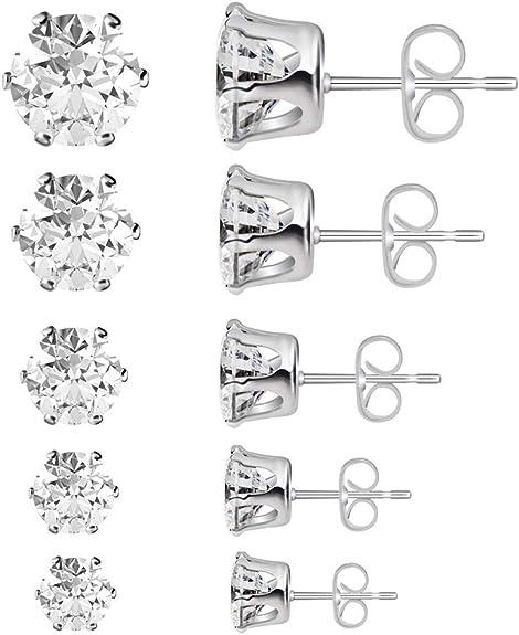Poplar 5 Size Cubic Zirconia Stud Earrings