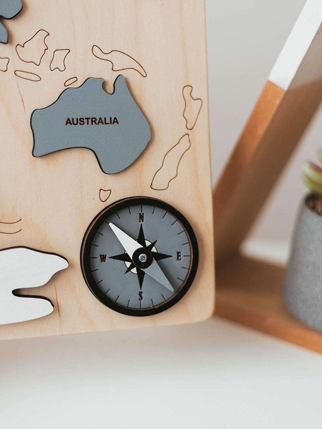 Wooden World Map Continents and Ocean Wooden Personalized Puzzle Baby Gift Montessori Educational Toys Baby Shower Toddlers Girls and Boys Natural Eco Wood Sensory Board Nursery Decor Unique Plaything