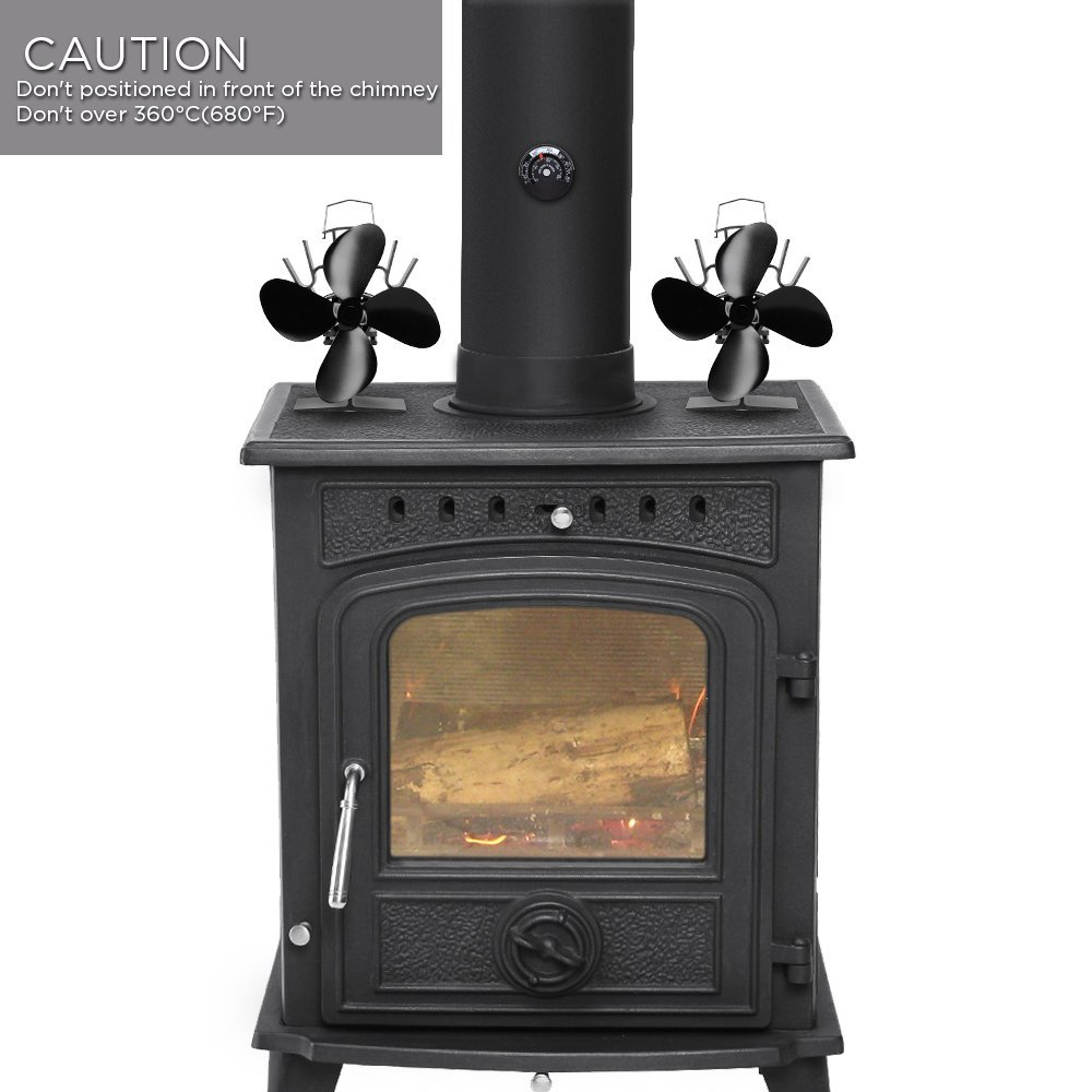 Sonyabecca Mini Heat Powered Stove Fan 4 Blades Wood Stove//Log Burner//Fireplace Upon Small Place Ultra Silent Operation with Magnetic Thermometer