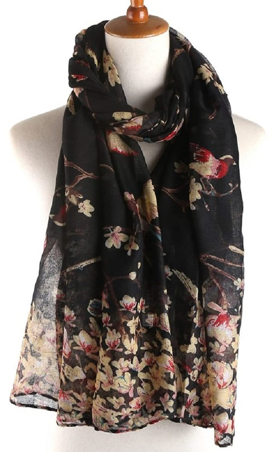 Bettyhome Branch Bird Print Women's Scarf Shawl Lightweight 70.87 inch x 35.43 inch Diff Color
