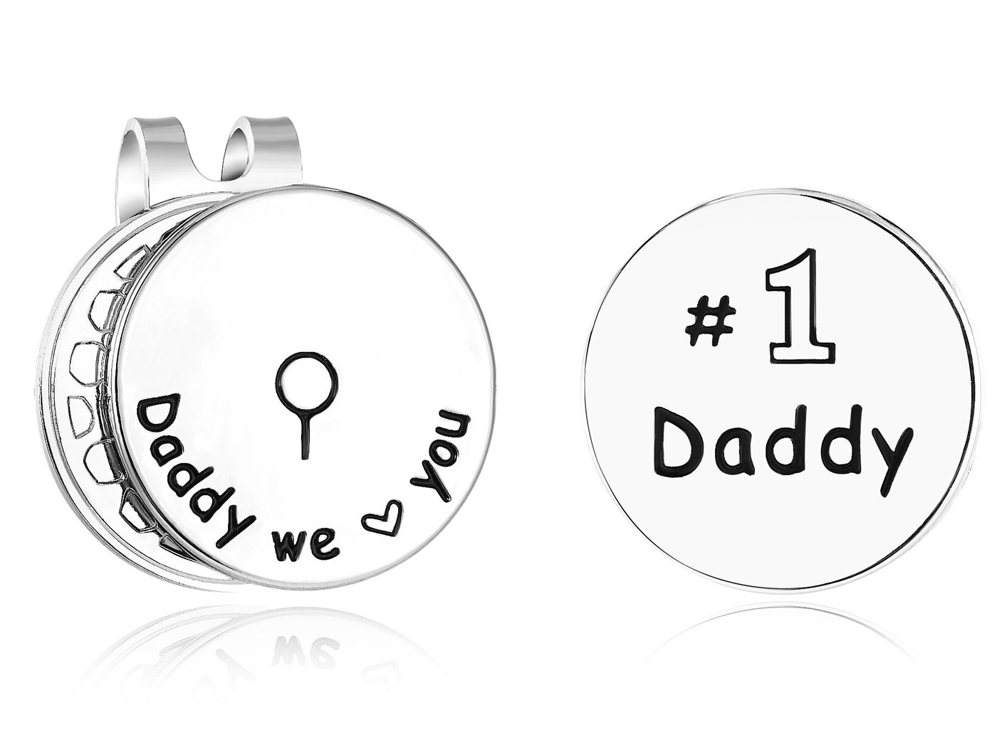ELOI Golf Ball Markers Placers Daddy We Love You Golfer Gift with Magnetic Hat Clip Christmas Father's Day Gift for Dad Golf Lover
