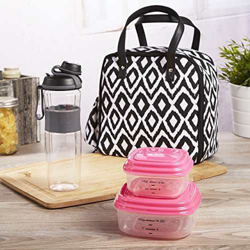 - Fit & Fresh Wichita Insulated Lunch Bag with Reusable Container Set and 24-oz. Active Sport Bottle (Black & White Painted Diamonds)