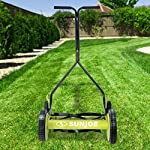 Sun Joe MJ503M 14-Inch Quad Wheel 9-Position Manual Reel Mower 8 ✅ REEL MOWER: Totally nature-friendly push reel mower - no electricity, no battery, no problem! ✅ ADJUSTABLE: 9-position height adjustment tailors grass cutting height from 1.1 to 2.9 inches ✅ RAZOREEL: 5 durable steel blades swiftly slice through grass for precise cutting