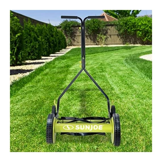 Sun Joe MJ503M 14-Inch Quad Wheel 9-Position Manual Reel Mower 4 ✅ REEL MOWER: Totally nature-friendly push reel mower - no electricity, no battery, no problem! ✅ ADJUSTABLE: 9-position height adjustment tailors grass cutting height from 1.1 to 2.9 inches ✅ RAZOREEL: 5 durable steel blades swiftly slice through grass for precise cutting