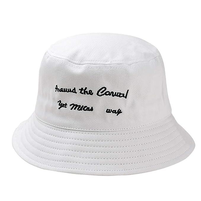 Rcool Gorras de béisbol Viseras Gorro de pescador Pamelas Sombreros Panamá, Sombrero de la letra del bordado del pescador Gorra salvaje de la protección de ...