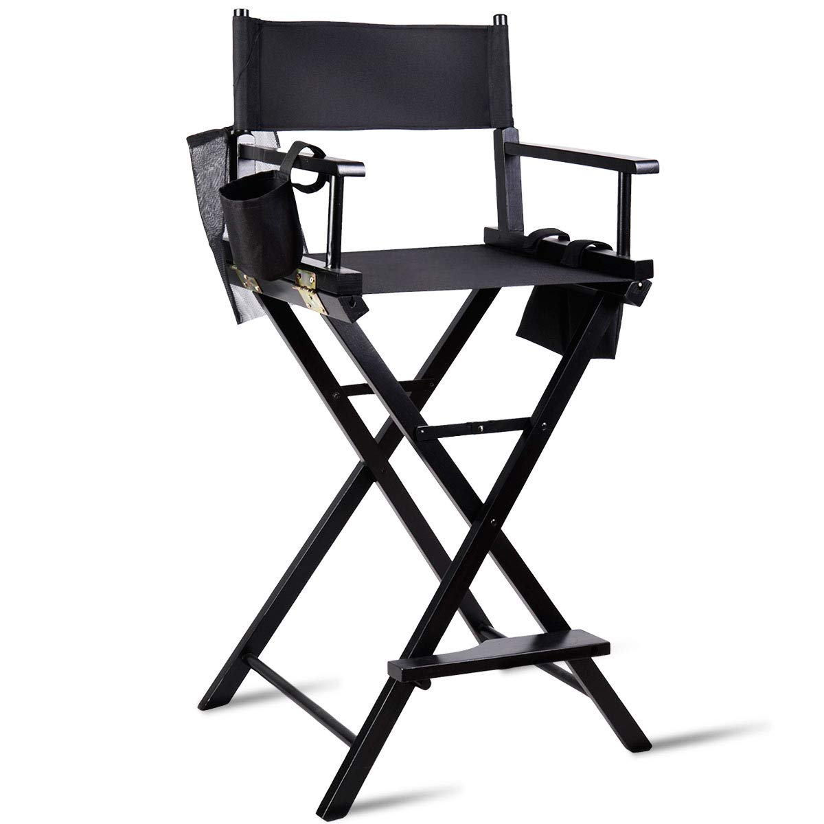 TANGKULA Director's Chair 30'' Bar Height Collapsible Portable Wood Frame Foldable Tall Professional Makeup Artist Chair with Side Cup Holder, Side Storage Bag, Footrest by Tangkula