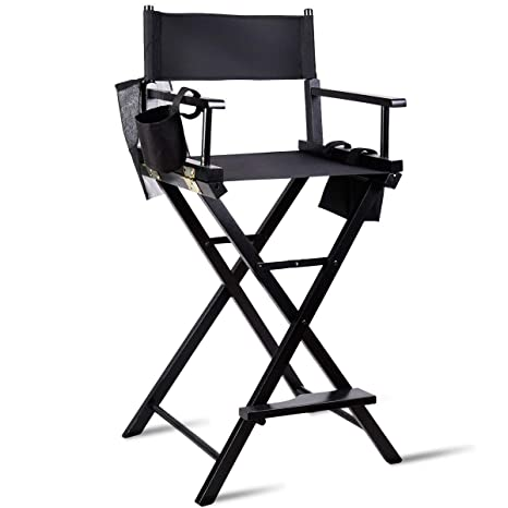 Amazing Tangkula Directors Chair 30 Bar Height Collapsible Portable Wood Frame Foldable Tall Professional Makeup Artist Chair With Side Cup Holder Side Onthecornerstone Fun Painted Chair Ideas Images Onthecornerstoneorg