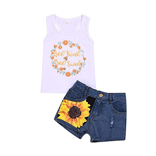 28f05b23cc Image Unavailable. Image not available for. Color  2Pcs Set Fashion Toddler  Kids Baby Girl Sleeveless T-Shirt Top+Pineapple Shorts