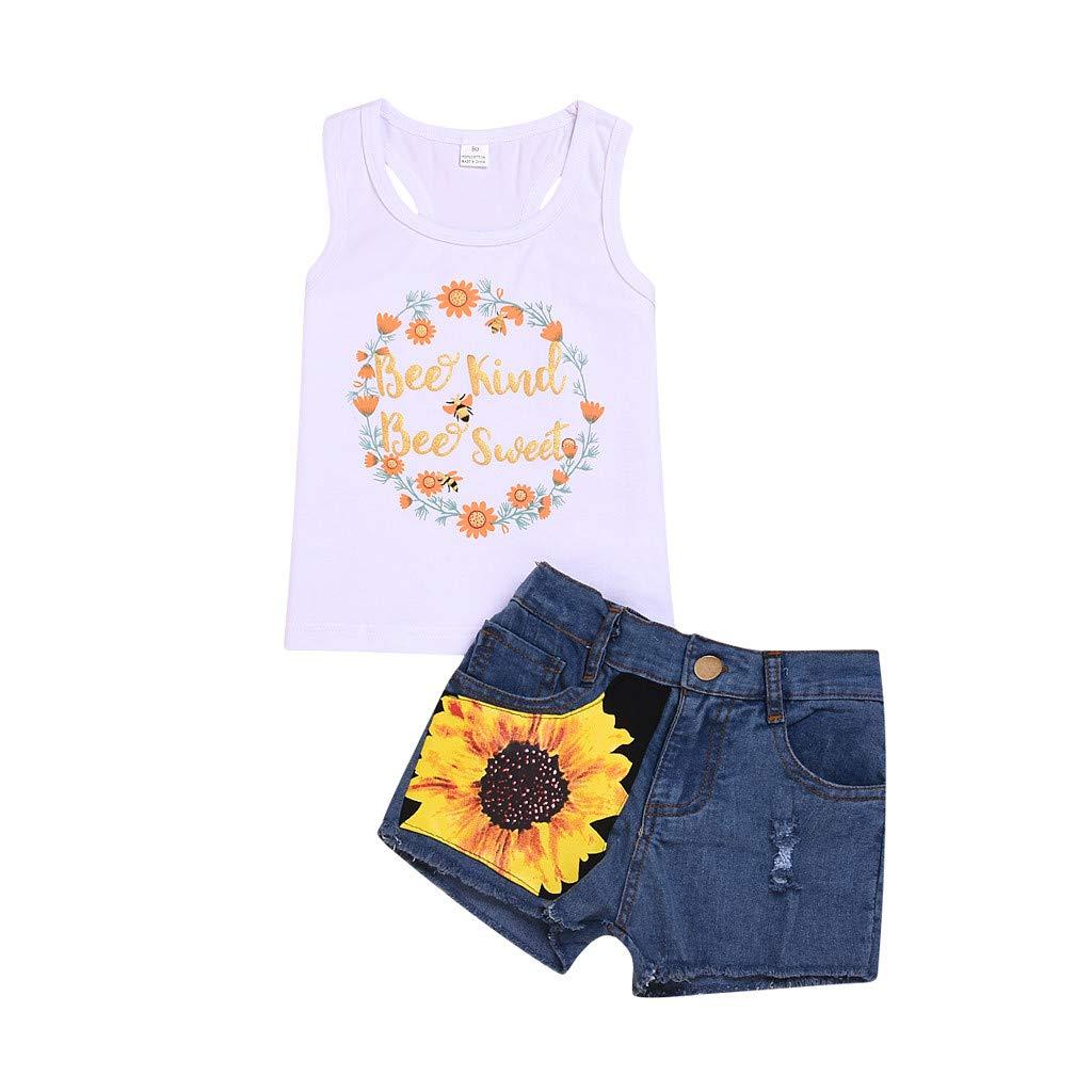 Baby Girl Denim Shorts Set 2Pcs Crewneck Letter Floral Print Vest+Denim Shorts Spring Summer Outfits (White, Recommend Age:12-18Months)