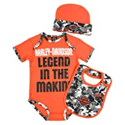 Harley-Davidson Baby Boys' Camo 3-Piece Newborn Creeper Set w/Hat & Bib (3/6M)