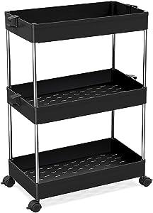 SPACEKEEPER Slim Storage Cart, 3 Tier Bathroom Organizers Rolling Utility Cart Slide Out Storage Shelves Mobile Shelving Unit Organizer for Office, Kitchen, Bedroom, Bathroom, Laundry Room, Black