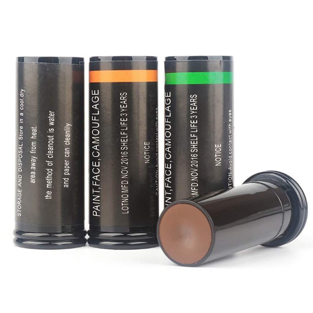 Bebliss Kit dhuile de Camouflage 3 Couleurs Vert Stick de Maquillage pour Le Corps Noir Brun
