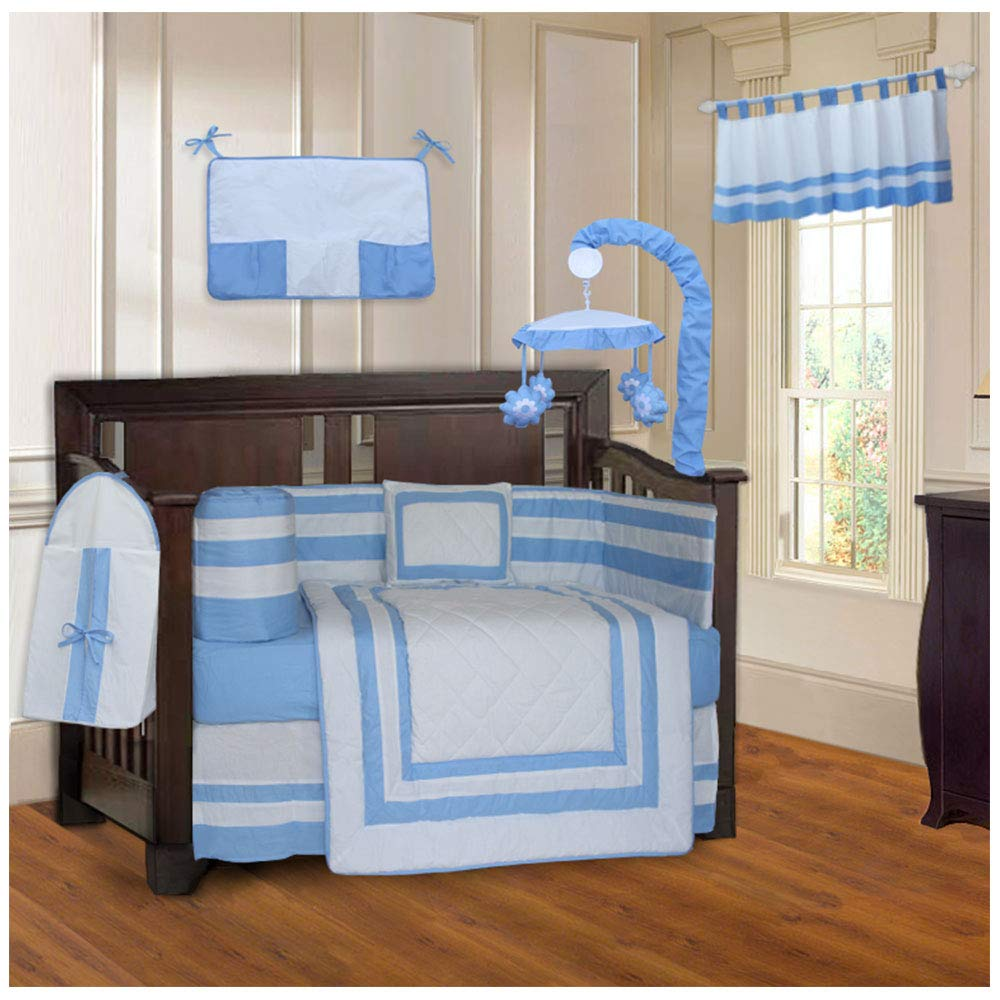 BabyFad Modern Quilted Blue 10 Piece Baby Crib Bedding Set