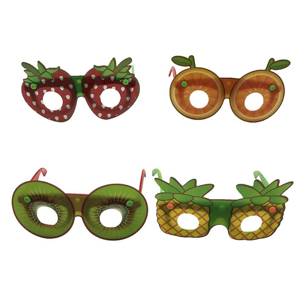 Amosfun 4 Pcs Fruit Sunglasses Strawberry Pineapple Funny Party Eyewear Luau Tropical Party Favors