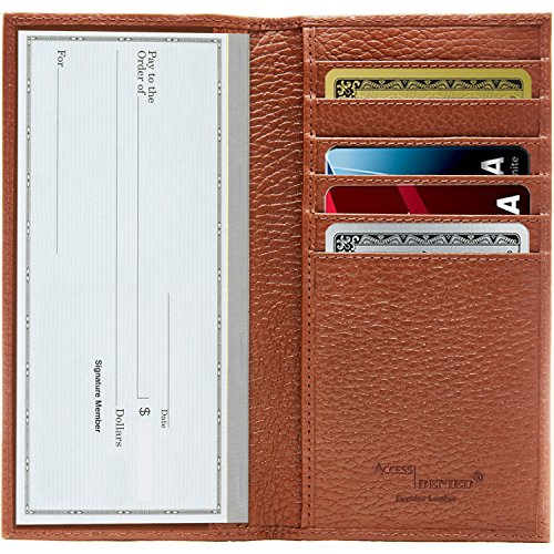 Genuine Leather Checkbook Cover For Men & Women - Checkbook Holder With Card Slots Wallet And Gift Box RFID Blocking
