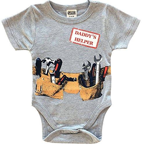 CHUBS Daddys Little Helper Cute Boy Baby Clothes, Funny Baby Bodysuit (0-3M)