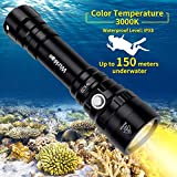 Diving Light, Waterproof Scuba Dive LED Flashlight 18650 with Cree XPL 3000K Warm White 5 Modes 1000 Lumens Underwater 150m/164yd with Battery