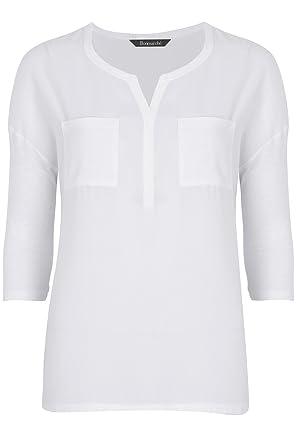 227d9ba8c Ex Stores Ladies Womens Pocket Work Smart Loose Fit Blouse Top Black  Bugundy White 10-24 (20, White): Amazon.co.uk: Clothing