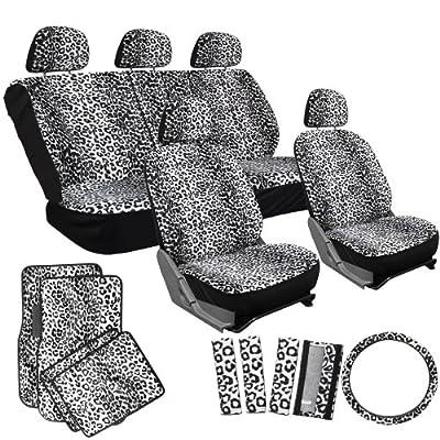 OxGord 17pc Leopard Seat Cover Carpet Floor Mat Set for CarTruckVanSUV, Snow White