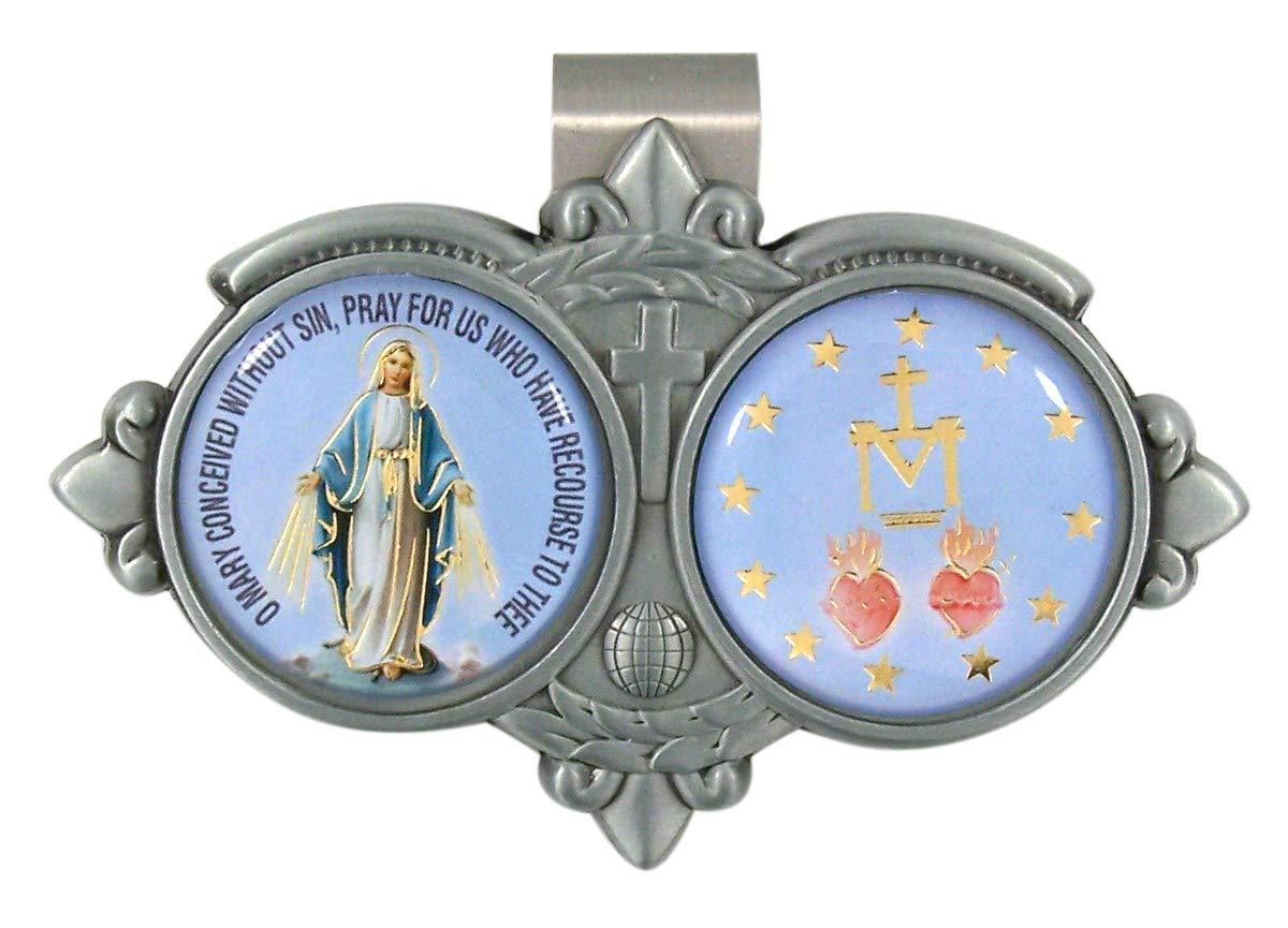 Needzo Full Color Epoxy Miraculous Medal Visor Clip 3 1//8 Inch