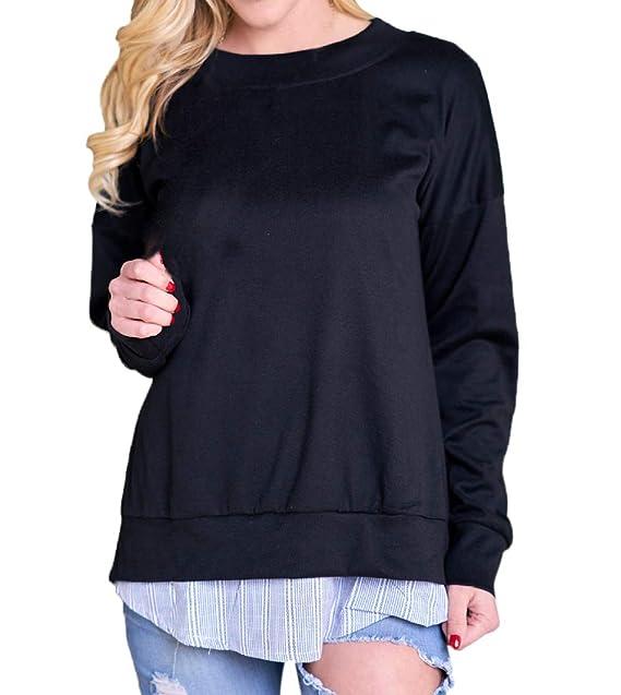 Mujeres Falso Dos Piezas Tops Moda T-Shirt Blouses Suéter Sudaderas Cuello Redondo Camisetas de Manga Larga Jerséis Tees Jumpers: Amazon.es: Ropa y ...